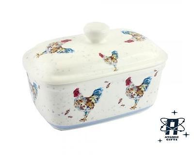 Vintage Retro Styled Country Cockerel Butter Dish New In Box