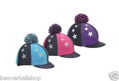 Shires Pom Pom Riding Hat Cover Silk  Coloured Stars Glitter  One Size. (841)