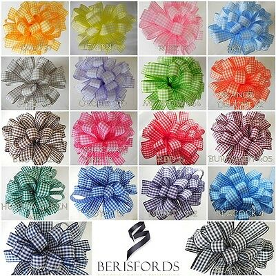 Berisfords 10mm High Quality Gingham Ribbon 18 Colours, 4 Lengths, Free P & P