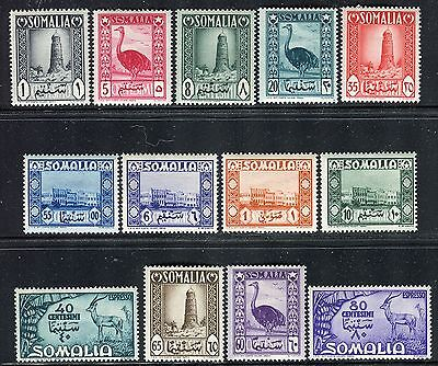 Somalia Italy Admin 1950 Architecture/animals/tower/gazelles/bananas/ostrich