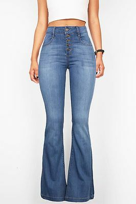 Vintage High Waist Flared Bell Bottom Button Fly Jeans 70s Denim Stretchy Fitted