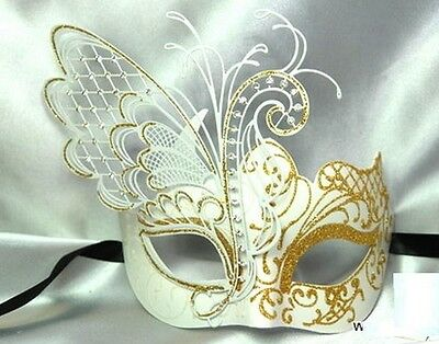 White & Gold Glitter Butterfly Masquerade Mask Halloween Ball Mardi Gras Mask