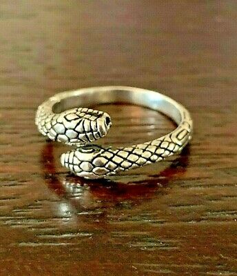 Sterling Silver Textured  Egyptian Double Headed Serpent Snake Ring  Size 8