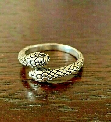 Sterling Silver Textured  Egyptian Double Headed Serpent Snake Ring  Size 7