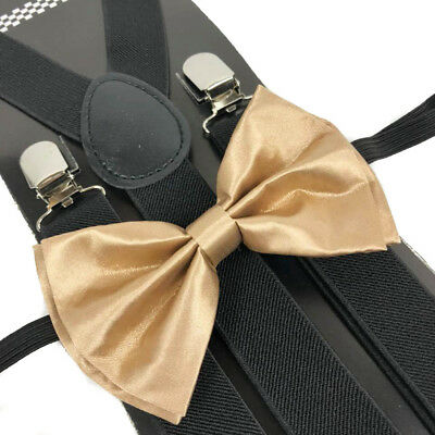 Champagne Gold Bow Tie And Suspender Matching Set Tuxedo Wedding Accessories