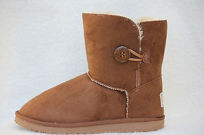 Ugg Boots 1 Button Synthetic Wool Colour Chestnut Size 7 Lady's