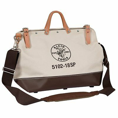 "Klein Tools 5102-18SP Deluxe Canvas Tool Bag, 13 Pockets, 18"" x 6"" x 14"""
