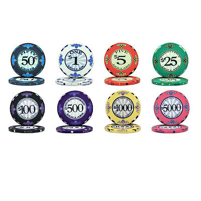 NEW 500 PC Scroll Ceramic 10 Gram Poker Chips Bulk Lot Select Your Denominations