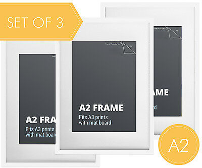 Set of 3 pcs A2 White Photo Frame + Mat Board - A2 Picture Frames Wall Decor