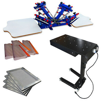 Screen Printing DIY Machines 4 Color Printer & Flash Dryer /Frame /Squeegee