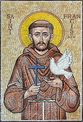 St Francis Religious Marble Mosaic