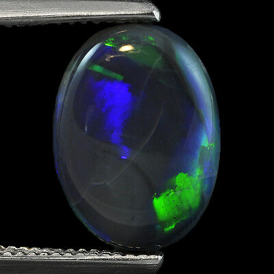 2.96Cts Natural Australian Black Opal Solid Fire Play Oval Cabochon Gemstone