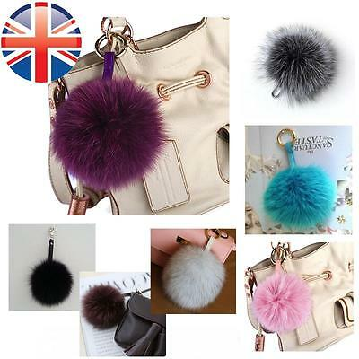 *UK Seller* LARGE 13 cm Real Fox Fur Soft Pompom Keyring Bag Charm Women Gift