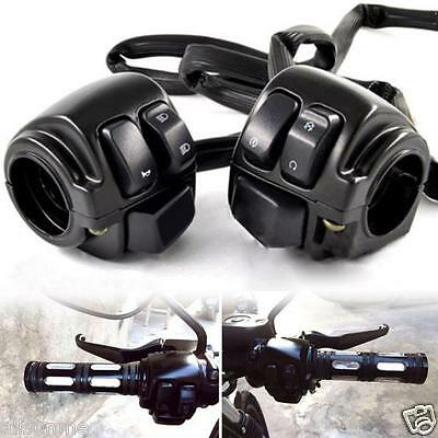 2X DC12V Motorcycle 1 Handlebar Control Switches Black+Wiring Harness for Harley