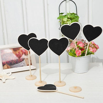 Heart Chalkboard Stands Mini Wooden Wedding Table Place Card Number Decor 1x