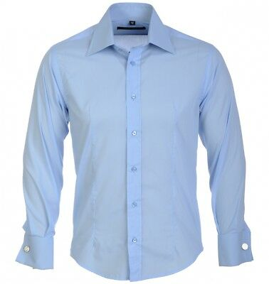 Guide New Mens Casual Slim fit Stylish Long Sleeve Shirts Luxury Sky