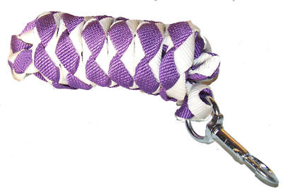 2m polypropylene lead rope/rein with replaceable clip - purple & white Trendco