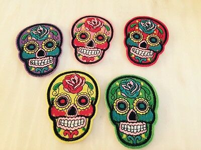 Skull Small On Iron On Embroidered Applique Badge Patch UK Ripped Jeans Trend