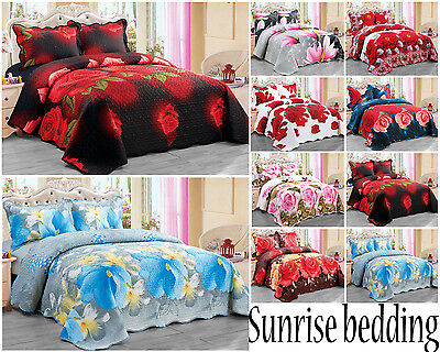 3D 3PCS Bedspread quilted Bed Spread 150GSM with 2 pillow shams