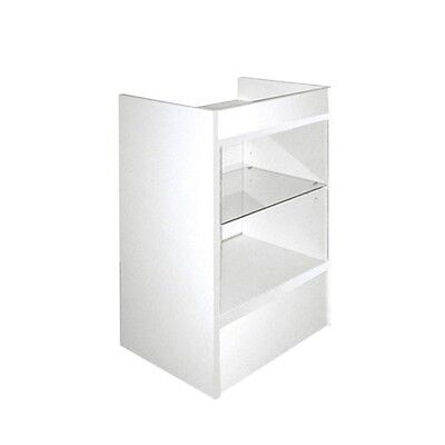 Cash Register Stand With Glass Front For Full Vision Showcase - White - Scrgw