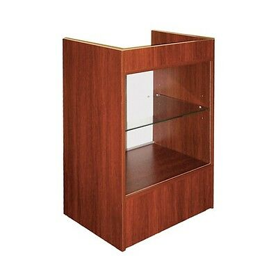 Cash Register Stand With Glass Front For Full Vision Showcase - Cherry - Scrgc