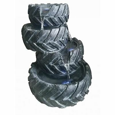 4 Stacked Tyres Garden Water Feature Solar Powered with Battery Back Up