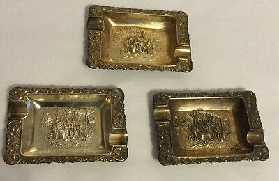 Vintage Pressed Metal Mini Ashtray Street Musicians Silver Metal Lot Of 3