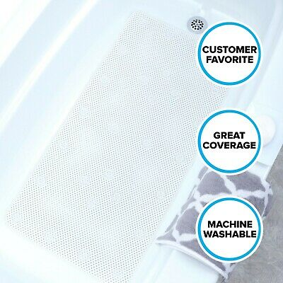 White Comfort Foam Bath Mat: Extra Long Soft In-Tub Mat by SlipX Solutions