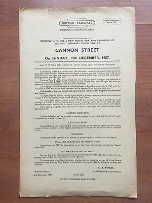 Cannon Street Signal Instruction No4 1957, +Diagram and Supplement