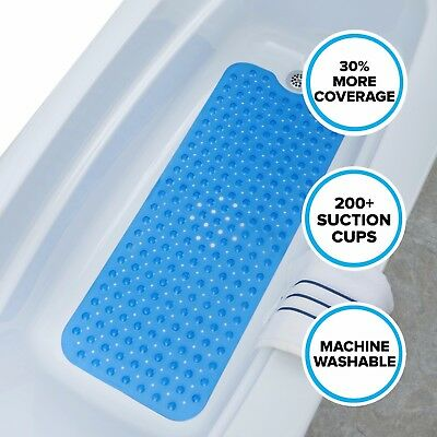 "SlipX Solutions Extra Long Bath Mat: 39"" Blue Bathtub Mat with Suction Cups"