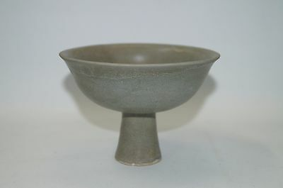Rare northern Song dynasty longquan celadon stem cup with flower motif