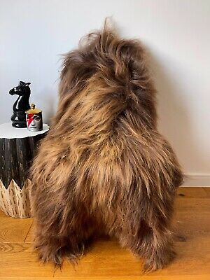 BN Large Black/Grey Fleck on White/Ivory Genuine Icelandic Real Sheepskin Rug