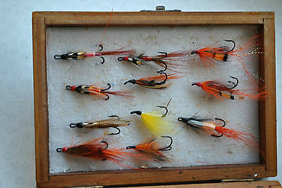 A Good Small Wooden Fly Box/reservoir With Collection Of Salmon Prawn Flies