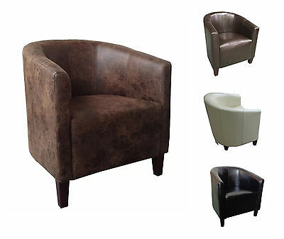 Fabric Leather Tub Chair Sofa Armchair for Dining Living Office