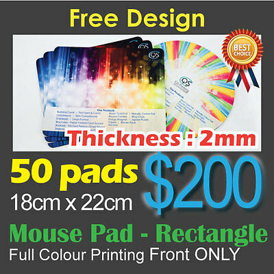 50 Customised/Personalised Mouse Pad Full Colour Printing 18cm x 22cm Rectangle