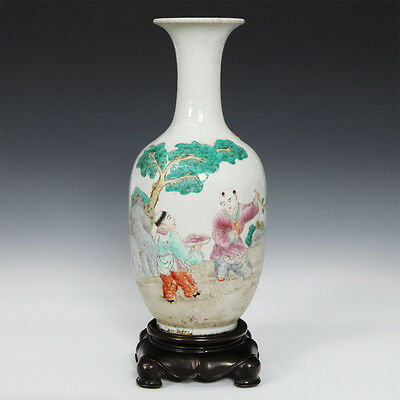Rare Chinese Porcelain Qing Dynasty Famille Rose Vase Mahogany Wood Base