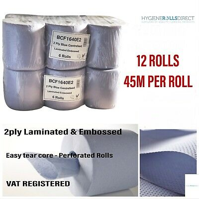 (2 packs)12 rolls Blue Centre feed Rolls Embossed 2ply Wiper Paper Towel - 45M