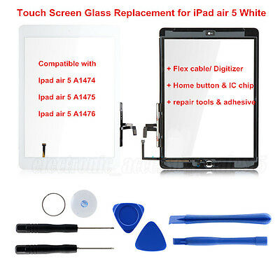 White Touch Screen Glass Lens Replacement Digitizer+IC chip+Home For iPad Air 1