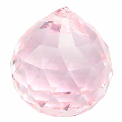 Pink Crystal Ball Sun Catcher Feng Shui Hanging Crystal Rainbow Prism 30Mm T1