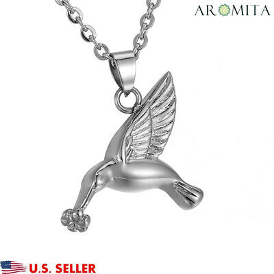 Premium Hummingbird Cremation Jewelry Keepsake Memorial Ash Urn Holder Necklace