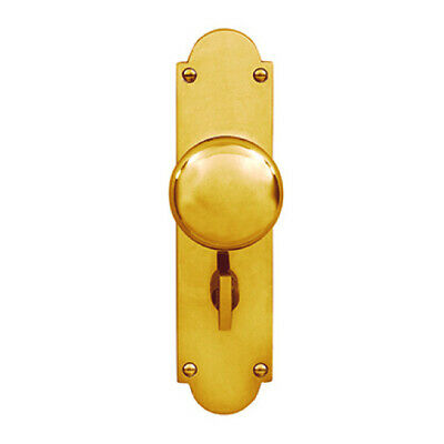 Delf Door Knob 3008KPPB Victorian Privacy Knob On Long Plate Polished Brass