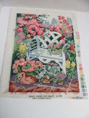 Finished Needlepoint Dimensions Garden Bench Completed Floral Victorian 11x14