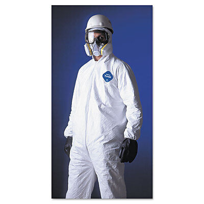 DuPont Tyvek TY127S  Disposable Coverall with Hood, Elastic Cuff, White, Larg...