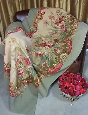 Antique French Aubusson Tapestry Weave Panel Time Worn Floral Decor Roses