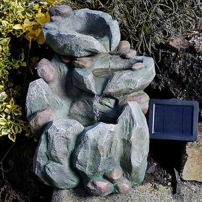 Solar Powered Rock Fall Garden Water Feature Self Contained