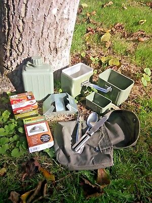 Army Canteen, Mess Kit, Cutlery Cook Set Water Bottle Pouch + Free Burner + Fuel