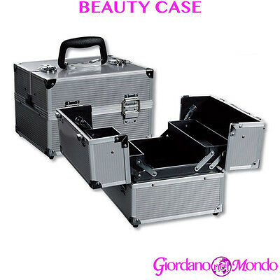 Beauty Case Trucchi Make Up In Alluminio Rigido Nail Art Estetica Professionale