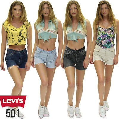 Grade A! Levis Vintage 501 Womens High Waisted Denim Shorts Size 6 8 10 12 14 16