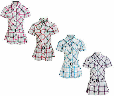 Girls Checked Blouse Long Belted Fashion Shirt 2-11 Years
