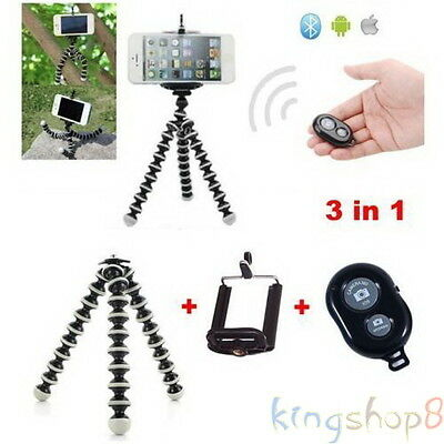 Small Flexible Tripod Octopus +Phone Holder +Bluetooth Remote Control For iPhone